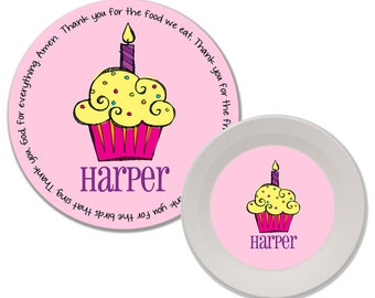 Personalized Melamine Plate and Bowl Set - Mealtime Set - Melamine Dinnerware Set - Kids Plate and Bowl Set - First Birthday - Cupcake Girl