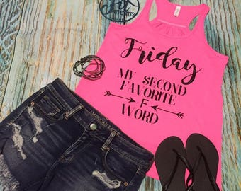 Friday My Second Favorite F Word  Tank Top  XS S M L XL 2X Plus Size Glitter Bling