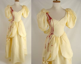 Southern Belle Vampire. Blood Trickle Dress. Halloween Costume. Beauty and the Beast. Zombie Prom. Optional Tatters Holes Stains Size XS 0 1