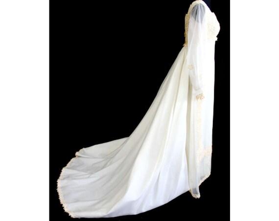 Bust 1970s 31827 Size Elegant NWT Dress Train Waist Deadstock 27 amp; Wedding Lace 35 10 Gown Star Flower 5 Detachable 5 1 Bridal SqqAfxZIw