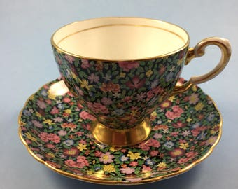 Vintage Chintz Teacup and Saucer - Tuscan China Chintz Black with Multicoloured Flowers Teacup and Saucer