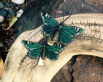 Green Monarch butterfly hair clips - sold in set of two