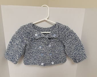 Hand Knitted Double Breasted Baby Blue and White Sweater