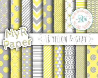 "Digital paper: ""18 YELLOW & GRAY"" paper pack and backgrounds for mother's day, valentine's day, wedding, love in yellow and grey"