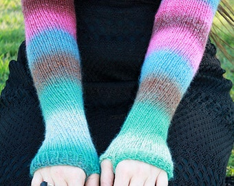Luxury Hand-Knit Arm-Warmers, Aqua/Green/Blue/Fuchsia/Brown, Fingerless Gloves/Texting Gloves, Opera-Length, 100% Wool, Mori Kei/Forest Girl