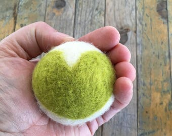 Lime Green Heart, Felted Wool Toy Ball or Sculpture , Mini
