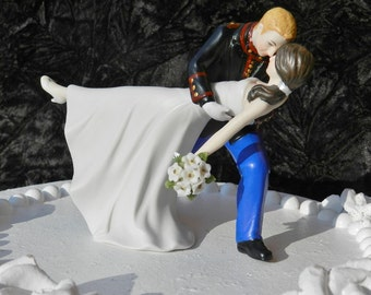 military USMC Marine Corps groom uniform dance dip Wedding Cake Topper