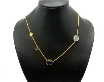 "Finished 18"" Gemstone Necklace -- Assorted Gemstone Bezel Connector on Gold Plated Chain (S98B5-03)"
