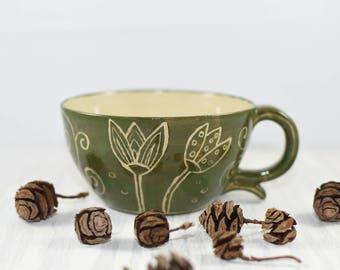 Handpainted cappuccino/ Coffee/ Tea cup, scrafitto, flower design