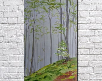 Forest Wall Decor Landscape painting Abstract painting Large Canvas Wall Art  Original oil painting   modern art