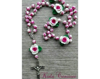 Rosary Pearly pink with roses and leaves. Handmade Mother's Day