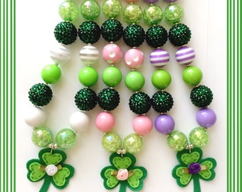 St. Patrick's Day Sweet Shamrock Chunky Bead Necklace