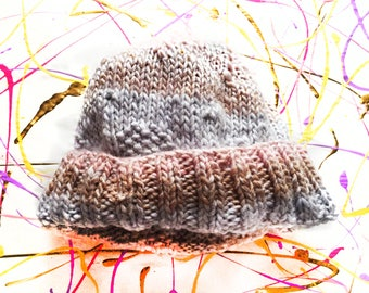 Blue and Pink Winter Wool Hat