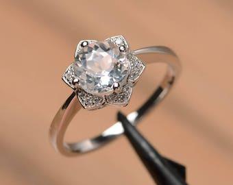 natural white topaz ring engagement wedding ring sterling silver round cut gemstone ring November birthstone ring