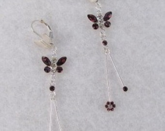 Swarovski Crystal Butterflies with Amethyst Flower Tails