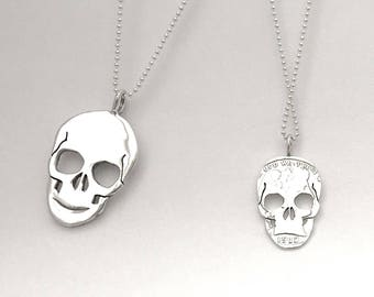 Skull Pendant, Earrings or Key Ring Made from Silver Vintage American Coin Dime Quarter Half Dollar