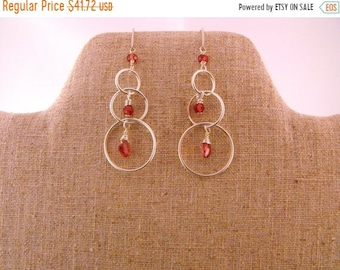 TAX Season Sale Margot . Garnet. graduated Circle Sterling Silver Drop Earrings