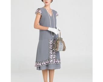 1920s tea dress in grey with cap sleeves, Great Gatsby party dress, Jazz Age Lawn Party dress, Downton Abbey dress, 1920s flapper dress