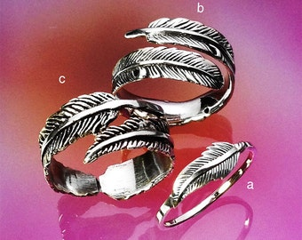 925 Solid Sterling FEATHER Ring/Symbol Ring/High Polish/Oxidized