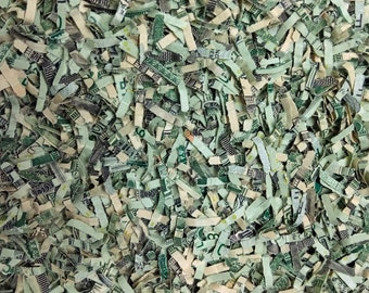 Real Shredded Money US currency as gag gift, novelty item, art supply, etc.