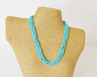 Turquoise necklace, seed bead necklace, beaded necklace, bridesmaid gifts, braid necklace, mint green vintage, teal necklace, aqua necklace