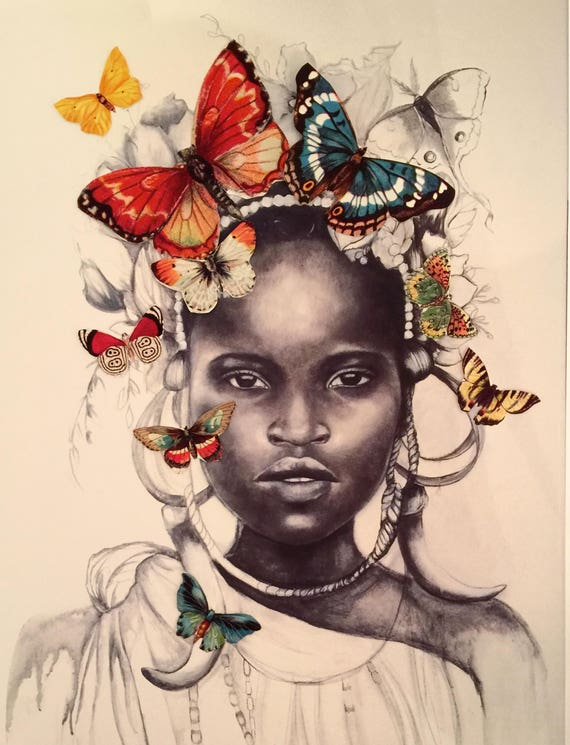 african girl with butterflies