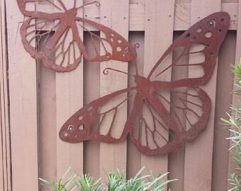 Outdoor Metal Wall Art - Natural Steel - Wall Art - Monarch Butterfly Metal Garden Wall Decor (Large)