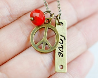 Peace Sign Charm Necklace, Peace Jewelry, Delicate Necklace, Dainty Necklace, Love Peace, Symbol Pendant,Modern Jewelry, World Peace, BFF