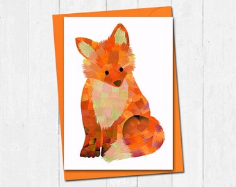 Fox greeting card, Custom colour, Fox card, Blank card, Fox friendship card, Fox birthday card, Cute animal greeting card, Cute fox art card