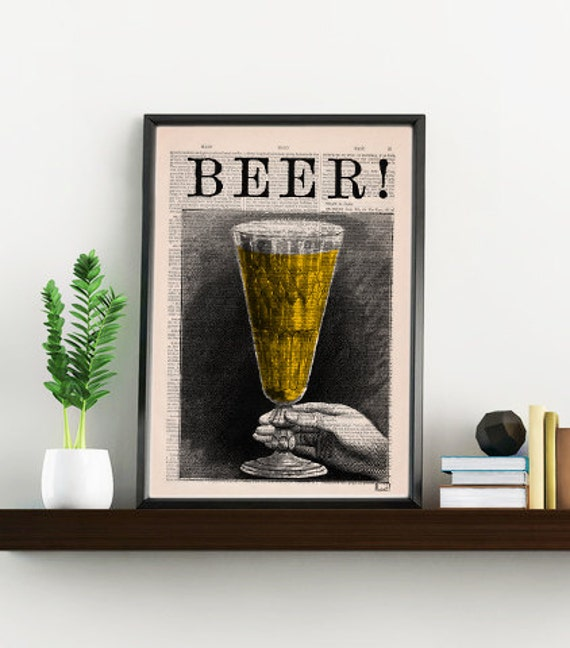 Beer print Vintage dictionary a pint of beer Old engraving poster Printed on Vintage Book page Man gift Upcycled BPTQ029
