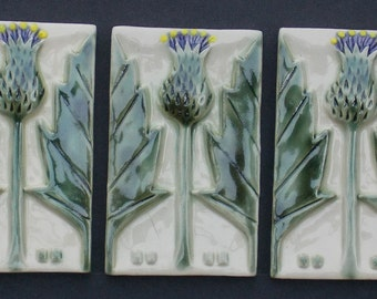 Arts and Crafts, Mission Style, Thistle Tile, #HandmadeTile