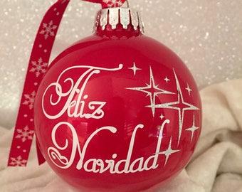 "Beautiful ""FELIZ NAVIDAD"" international Red 80mm glass Christmas Ornament with vinyl silver sparkle stars."