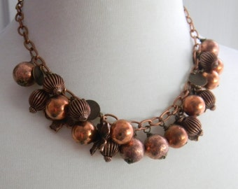 Chunky Copper Necklace, Copper Flower, Copper Charms, Copper Chain, Copper Beads, Charm Necklace