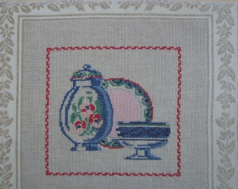 Embroidery blue dishes