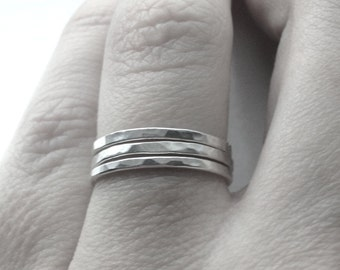 Triple Stack, Three Stacking RIngs, 3 Sterling Silver Stacking Rings, Hammered Stacking Ring, Sterling Silver Jewelry
