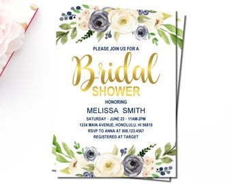 Floral Bridal Shower Invitation, Navy Blue White Flowers Bridal Shower Invitation, Gold, Custom Bridal Shower Invitation Printable, B73