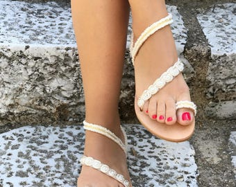 """White & Gold Lace Sandals/Natural Greek Genuine Leather/Cotton lace/Ivory, White and Gold Colors/Bridal/ """"Agnes"""""""