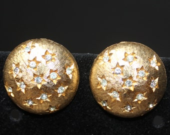 Gold Tone Button Earrings with Crystal Stars/Gold Crystal Stars Clip Back Button Earrings/Mother's Day/Birthday