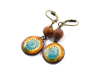 Handmade Stoneware Earrings, Artisan Earrings, Boho Earrings, Brass Earrings, Turquoise and Rust Earrings, Agate Earrings, Ceramic, AE176