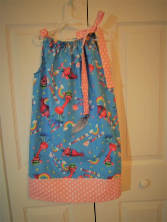Troll Girls Dress, Handmade Dress, Poppy Dress, Birthday Party dress,Pillowcase style Dress, Troll Costume, Toddler Dress,
