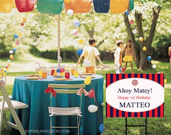 Preppy Nautical Party Yard Sign | Waterproof Party Sign | Preppy Party | Stripes | Ahoy Matey | Custom Lawn Sign