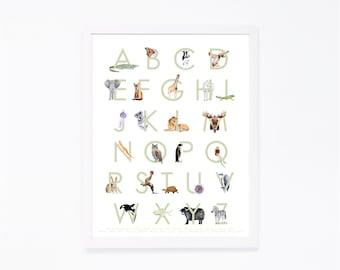 Animal Alphabet Art - Alphabet Wall Art - Child's Room Decor - ABC Art - Animal Alphabet Print -  Alphabet Poster - Kids Room Decor