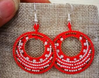 earrings rococo Japanese circle creole red white fastener titanium hypoallergenic sensitive skin vintage ethnic rio