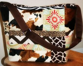 Diaper Bag, XL Tote Purse, Animal Print Diaper Bag, Gender Neutral, Travel Bag, Overnighter Bag, Weekender Bag MADE in CUSTOM Fabrics