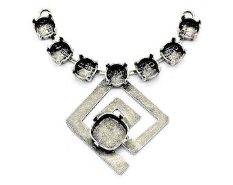 Base pour collier, spirale indienne, argent antique 7x3,6 cm, 7 sertis 8mm, 1 serti 12x12m