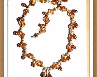 Handmade MWL venetian glass beaded remix necklace. 0129