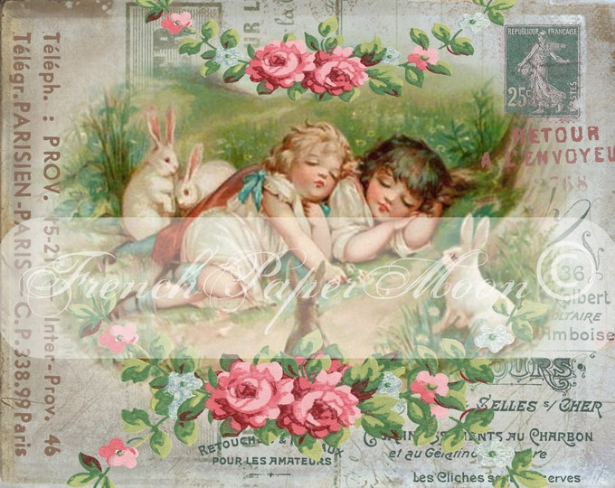 Digital Shabby Victorian Easter, Children, Bunnies, rabbits, French Graphics, French Pillow Easter Image Transfer Download