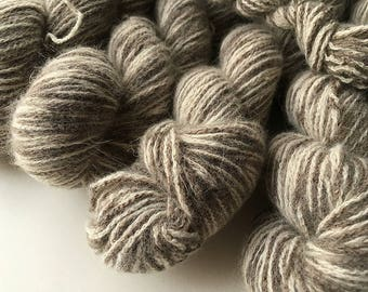 Reclaimed DK Yarn - Nylon/Angora/Wool - Brown/White Marl
