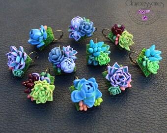 Succulent earrings  Plant earrings Cactus earrings Botanical earrings Statement earrings Floral earrings Boho earrings Polymer clay earrings