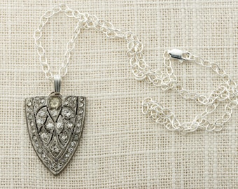 Art Deco Necklace Sterling Silver Chain Crest Shield Shaped Simple Rhinestone Pendant 925 Sterling + Pot Metal 1920s Jewelry 16E